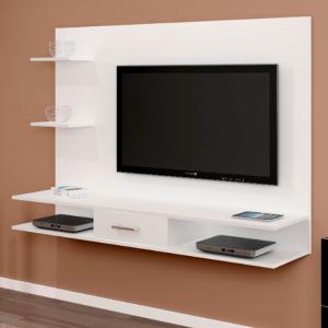 Painel TV 42'' Gaveta Nichos 137cm Branco