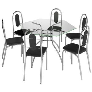 Mesa Sextavada (com seis pontas) em vidro transparente com seis cadeiras com acabamento em courino e cromado.