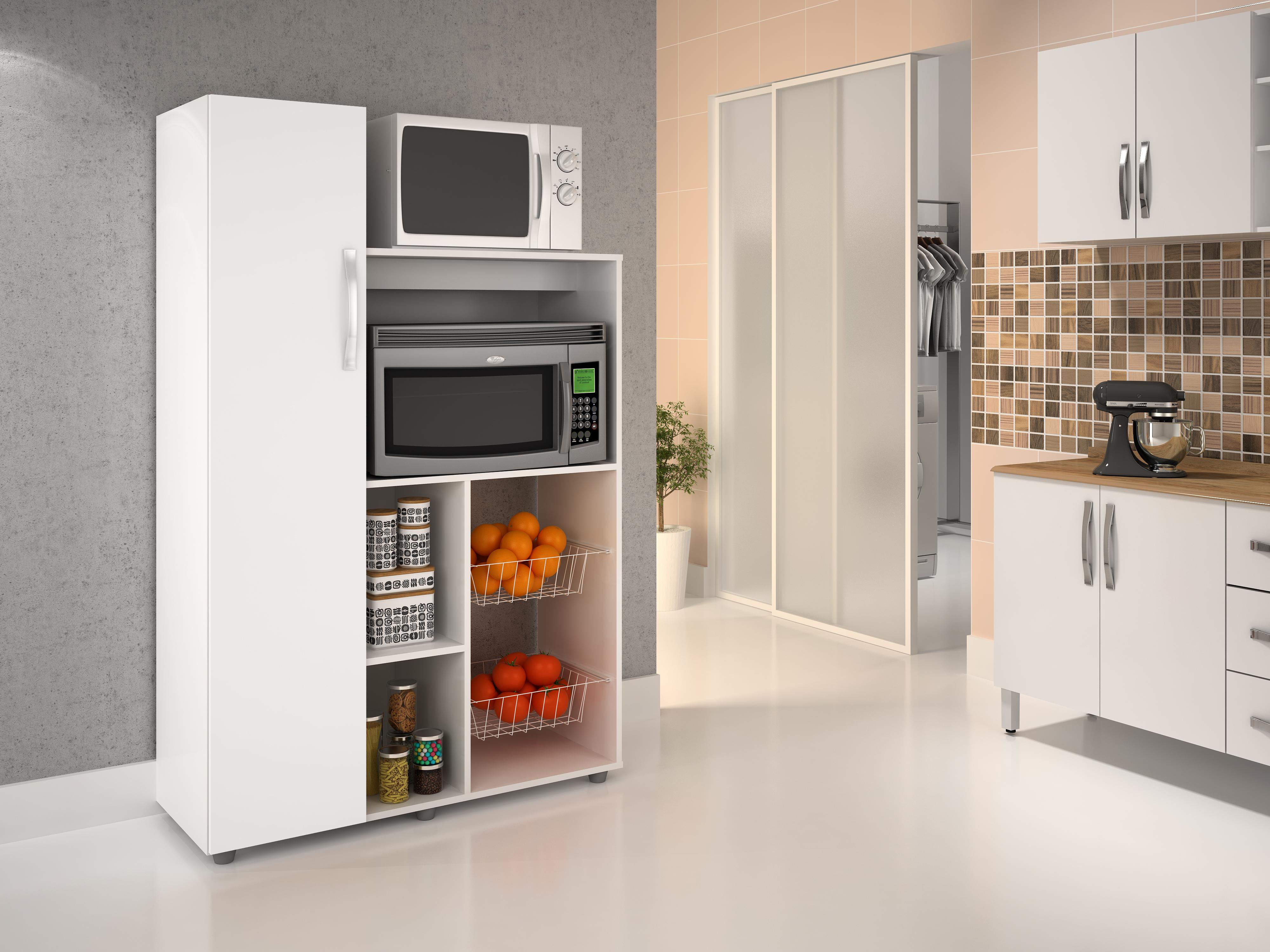 Fruteira com nicho para microondas e nicho para forno - Branco