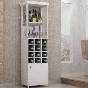 Cristaleira Bar e Adega Espelhada para 12 garrafas - Branco