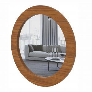 Quadro Espelho Redondo Anápolis Rovere Naturale 90x90cm