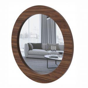Quadro Espelho Redondo Anápolis Imbuia Naturale 90x90cm