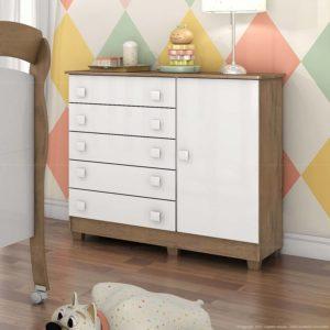 Cômoda Ariel Cinco Gavetas e uma porta - Branco Brilho com amadeirado - Cômoda infantil
