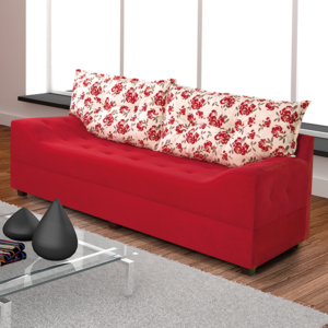Sofá Três Lugares Evidence 2100 - Suede Amassado Vermelho com Almofada Floral