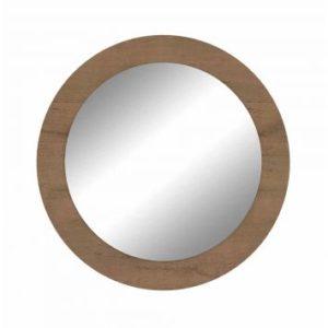 Quadro Redondo Com Espelho Anápolis  - Carvalho Soft - Fosco