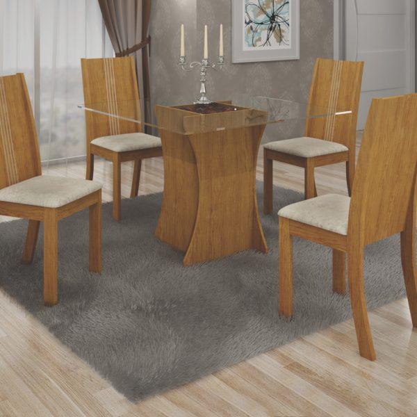 Mesa Vitoria com Quatro Cadeiras e Tampo Vidro - Imbuia Mel com Animale Cru