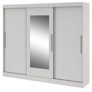 Roupeiro Montebello Três Portas de Correr  com Espelho - Branco Brilho