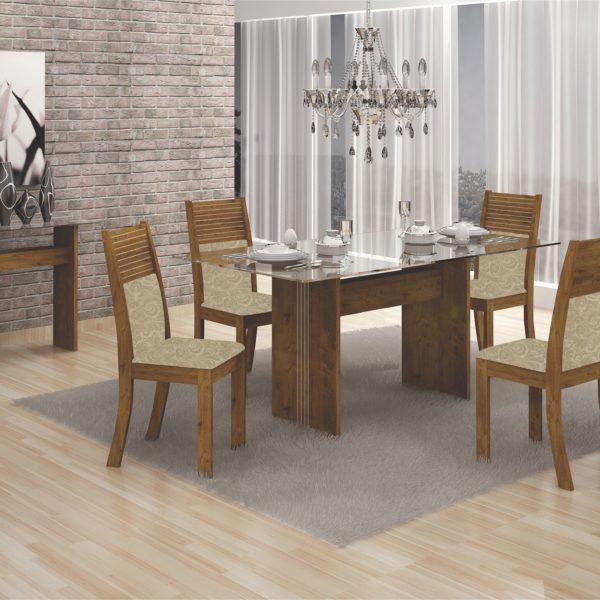 Mesa Hawai com Quatro Cadeiras - Tampo de Vidro Incolor - Canela com Tecido Jacquard Marrom