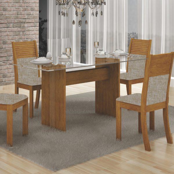 Mesa Hawai com Quatro Cadeiras - Tampo de Vidro Incolor - Imbuia Mel com Tecido Linho Bege