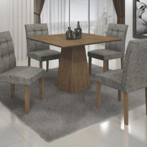 Mesa de Jantar Itália Quatro Cadeiras - Ipê com linho Cinza