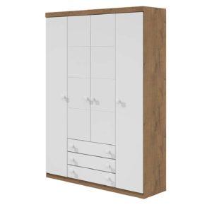 Roupeiro Ariel Quatro Portas  e três gavetas - Branco Brilho com Amadeirado