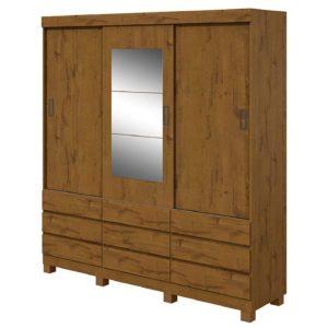 Roupeiro Casal Hercules Com  Espelho, Portas de Correr e Nove Gavetas Externas - Rovere Soft