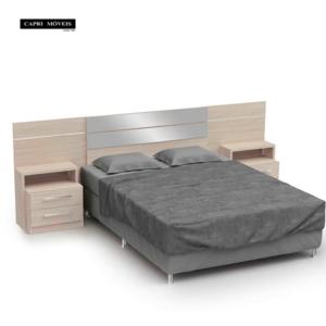 Cabeceira para cama box casal com criado mudo - Amendoa
