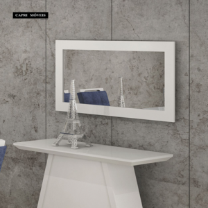Quadro Retangular Espelho Zurick Branco Brilho (Aparador não acompanha)