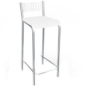 Banqueta Cromada com Assento em Courino Branco