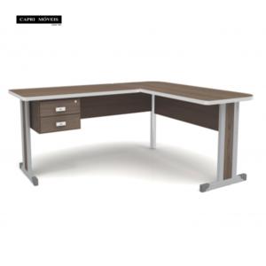 Mesa com duas gavetas para escritório - Teca Itália