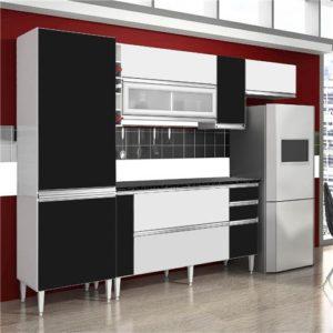 Cozinha Completa 10 Portas 03 Gavetas Branco/Preto