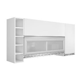 Armário Cozinha Aéreo 3 Portas Adega Branco