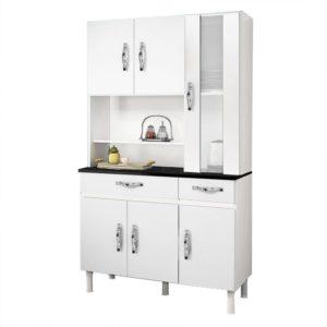 Kit Armário Cozinha 06 Portas Branco