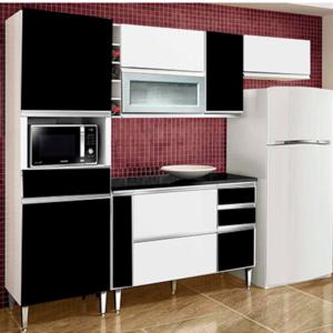 Cozinha 8 Portas 4 Gavetas Adega Branco/Preto