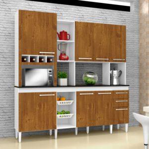 Kitão Cozinha 07 Portas 03 Gavetas Branco/Caramelo