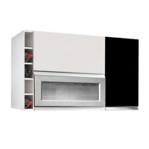 Armário Cozinha Aéreo 3 Portas Adega Branco/Preto