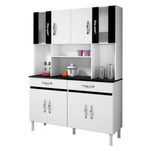 Armário Cozinha 8 Portas 2 Gavetas Branco/Preto