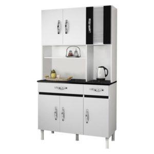 Armário Cozinha 6 Portas 2 Gavetas Branco/Preto