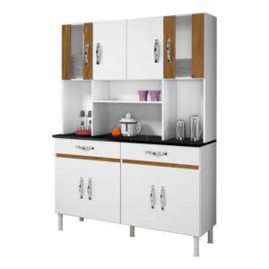 Armário Cozinha 8 Portas 2 Gavetas Branco/Caramelo