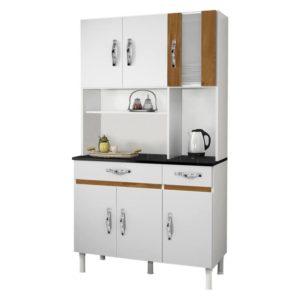 Armário Cozinha 6 Portas 2 Gavetas Branco/Caramelo