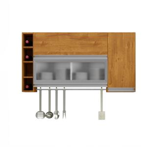 Armário Cozinha Aéreo Adega 3 Portas Caramelo