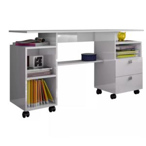 Escrivaninha Mesa Computador 2 Gavetas/1 Prateleira-Cor Branco BB