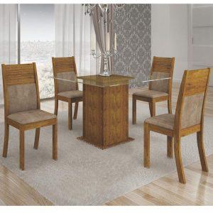 Mesa Napoli 90X90 Tampo Incolor 04 Cadeiras Cappuccino