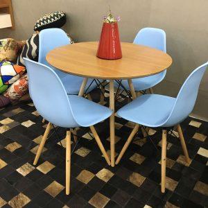 Mesa Redonda 88x88 Eiffel Charles Eames Azul