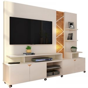 Home/Painel 2,10m Tv até 55'' Com Led Off White/Amendoa