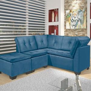 Sofá Canto c/ Puff 250x213cm Suede Azul 492