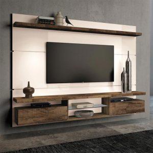 Painel p/ Tv até 60'' 2,20m Off White c/ Deck