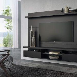 Painel p/ Tv até 55'' 1,80cm Preto Fosco