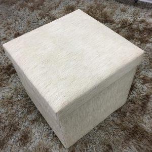 Pufe Baú Quadrado Desmontável 40x40cm Bege