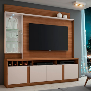 Home tv 60'' c/ LED Cristaleira Espelhada Rovere c/ Off White