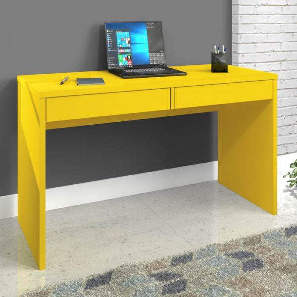 Escrivaninha para Estudo 02 Gavetas 130cm Max Amarelo