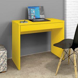 Escrivaninha para Estudo 01 Gaveta 90cm Slim Amarelo