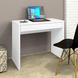 Escrivaninha para Estudo 01 Gaveta 90cm Slim Branco Gelo