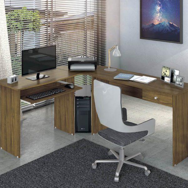 Estação de Trabalho Escrivaninha homeoffice Max Nogal