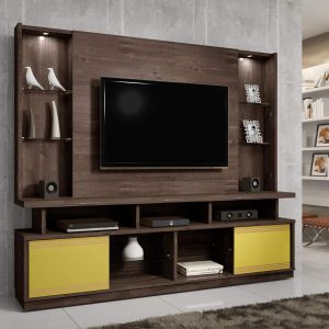 Home tv 55'' 2,10m com Leds Maracás Chocolate/Champanhe/Amarelo