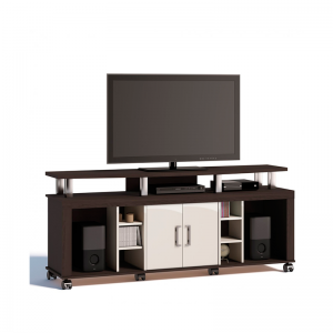 Rack Dulce 136cm 02 Portas Castanho/Off White Tv 50''