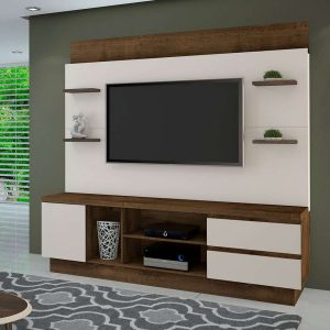 Home Estante p/ tv 60'' 210x200cm Cacau c/ Off White