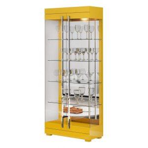 Cristaleira Espelhada Leonora 71cm Amarelo Brilho