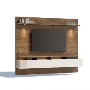 Painel Belize Plus Tv 60'' 02 Gv Led Mad/Off White 220cm