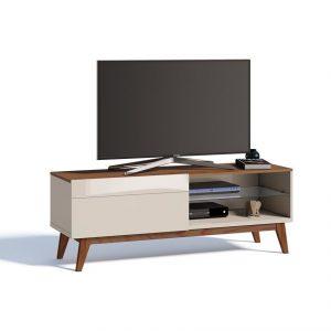 Rack Bruna Tv 55'' 140cm 01 Gaveta Off White/Freijó